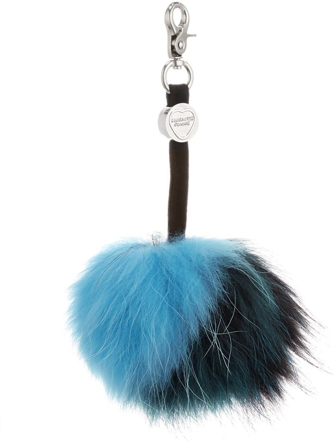 Charlotte Simone Black Real Fur Gobstopper Key Ring ($75)
