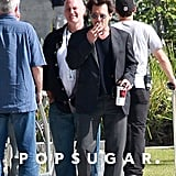 Johnny Depp took a cigarette break on Saturday while filming Transcendence in LA.