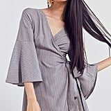 Ecote Striped Bell-Sleeve Wrap Dress