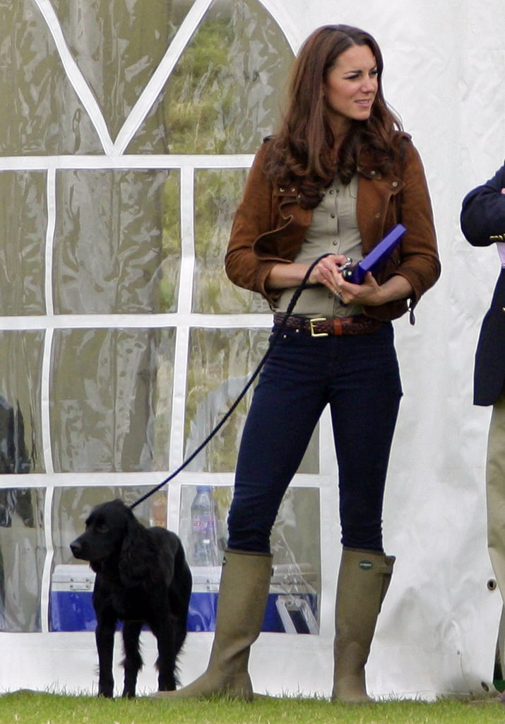 Kate Middleton kept her dog, Lupo, on a leash at the June 2012 Metropolitan Polo Club Charity Cup.