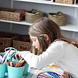 PS: What are the five items you always use when revamping a playroom? MS: 1. Open bins to store toys and art supplies. 2. A large play table, so kids can freely work without knocking elbows with someone. 3. An art caddy to tote around. 4. A cozy spot to read, whether it's a beanbag, floor pillows, or a chair. 5. A place to hang kids' artwork — ideally, one that they can reach and hang themselves.
