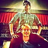 Chord Overstreet gave Harry Chum a lift on the set of Glee. Source: Instagram user chordover