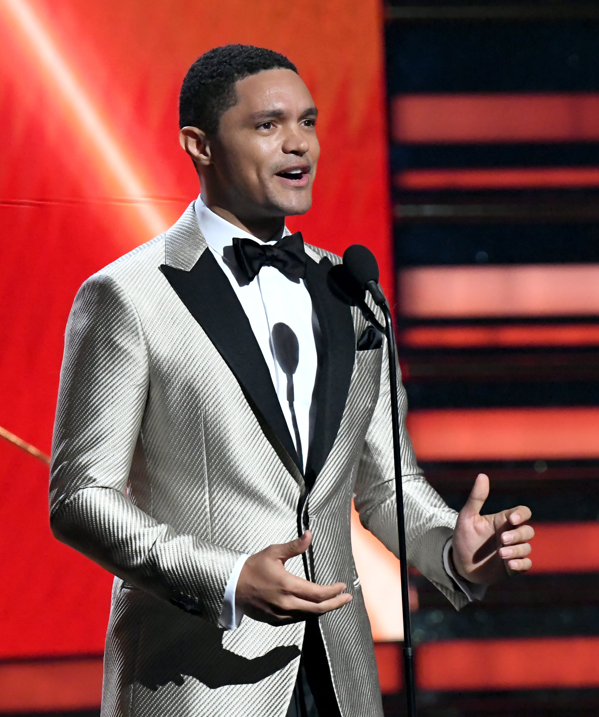 LOS ANGELES, CALIFORNIA - JANUARY 26: Trevor Noah speaks onstage during the 62nd Annual GRAMMY Awards at Staples Centre on January 26, 2020 in Los Angeles, California. (Photo by Jeff Kravitz/FilmMagic)