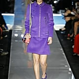 Bella Wore a Purple Suit Set on the Moschino Runway