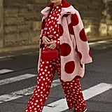Halogen® x Atlantic-Pacific Polka Dot Faux Fur Coat