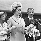 Queen Elizabeth II opens the Snape Maltings Concert Hall in 1967.