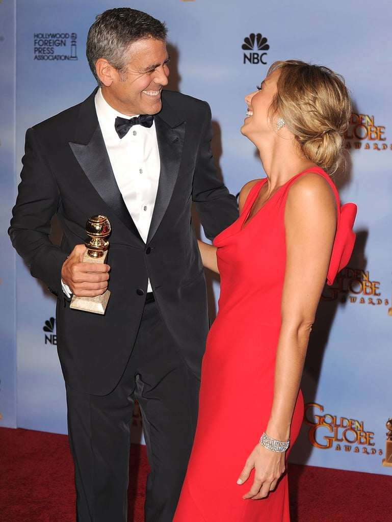 George Clooney shared his excitement over winning best actor with Stacy Keibler at the Golden Globe Awards in January 2012.