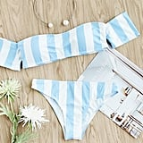 Shein Block Striped Off-the-Shoulder Bikini Set
