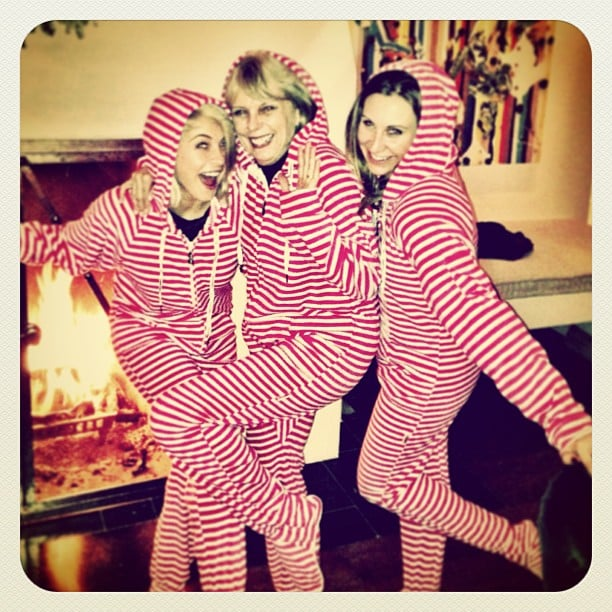 Julianne Hough posed in Christmas onesies with her family. Source: Instagram user juleshough
