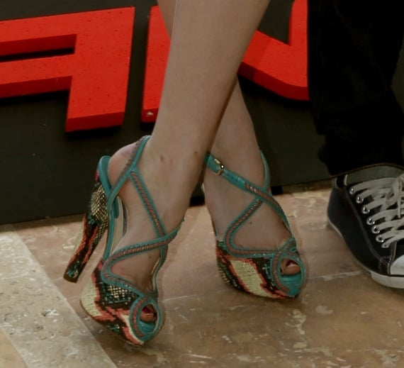 A close-up of Emma's colourful Angela crisscross platform sandals by Brian Atwood.