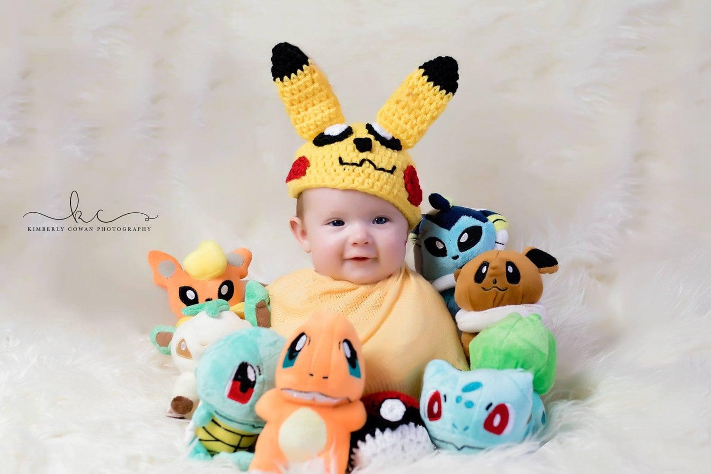 Free Post Yellow Pikachu Hat,Crochet Pikachu Costume,Baby Boy Girl ... | 1000x1500