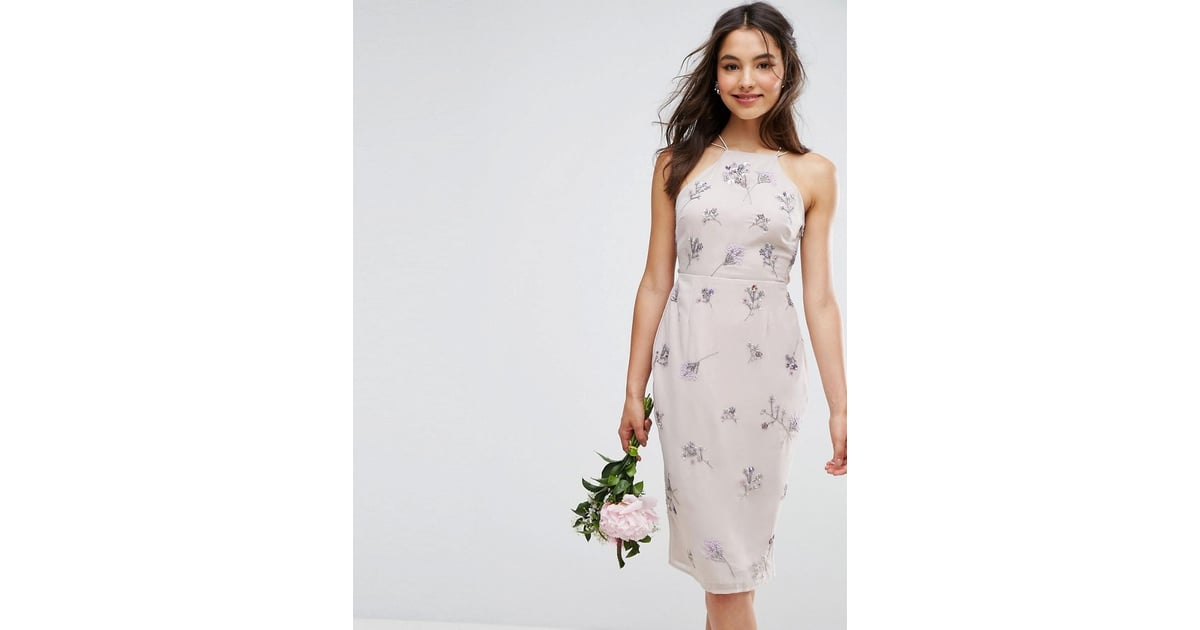 Asos Embellished Drape Back Midi Dress