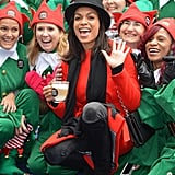 Surrounded by elves, Rosario Dawson was in a superfestive mood at Bryant Park's Winter Village in NYC on Tuesday.