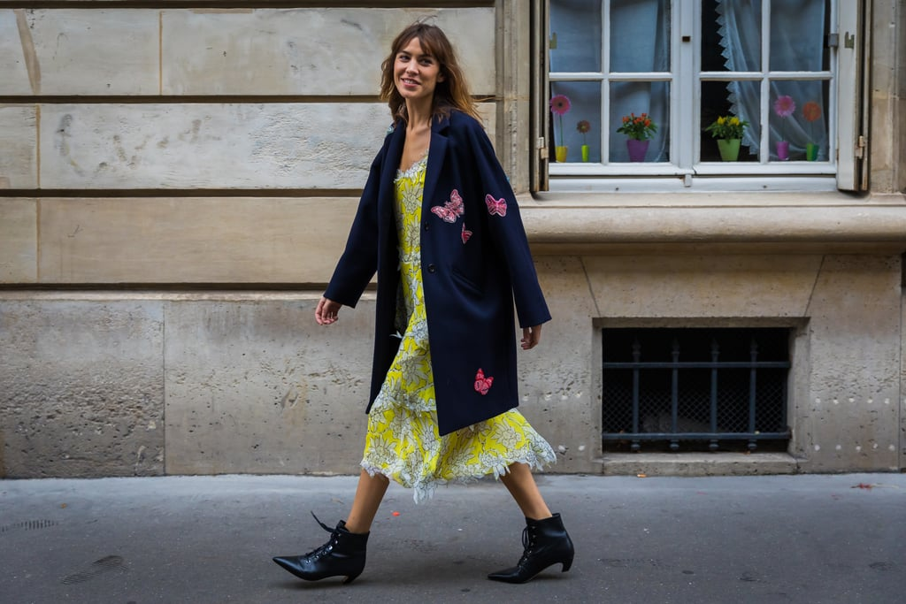 Alexa Chung's slip dress look is equal parts easy and sophisticated, thanks to the coat.