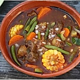 If you like your comfort food to have a spicy kick, try this mole de olla, or red chile beef and vegetable soup.