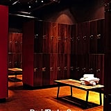 Besides lockers made of rich mahogany, bathrooms in the Chelsea location are stocked with Bumble & Bumble products.