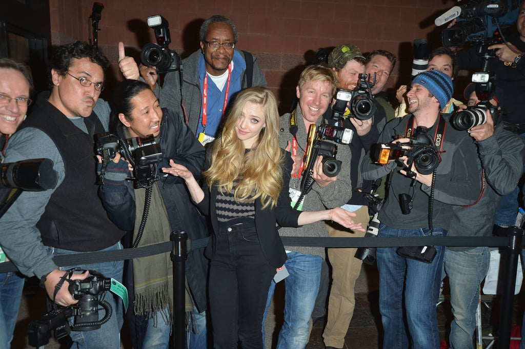 Amanda Seyfried posed with photographers on the red carpet at the Lovelace premiere at Sundance.