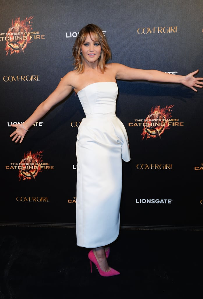 Jennifer Lawrence attended a party for Catching Fire.