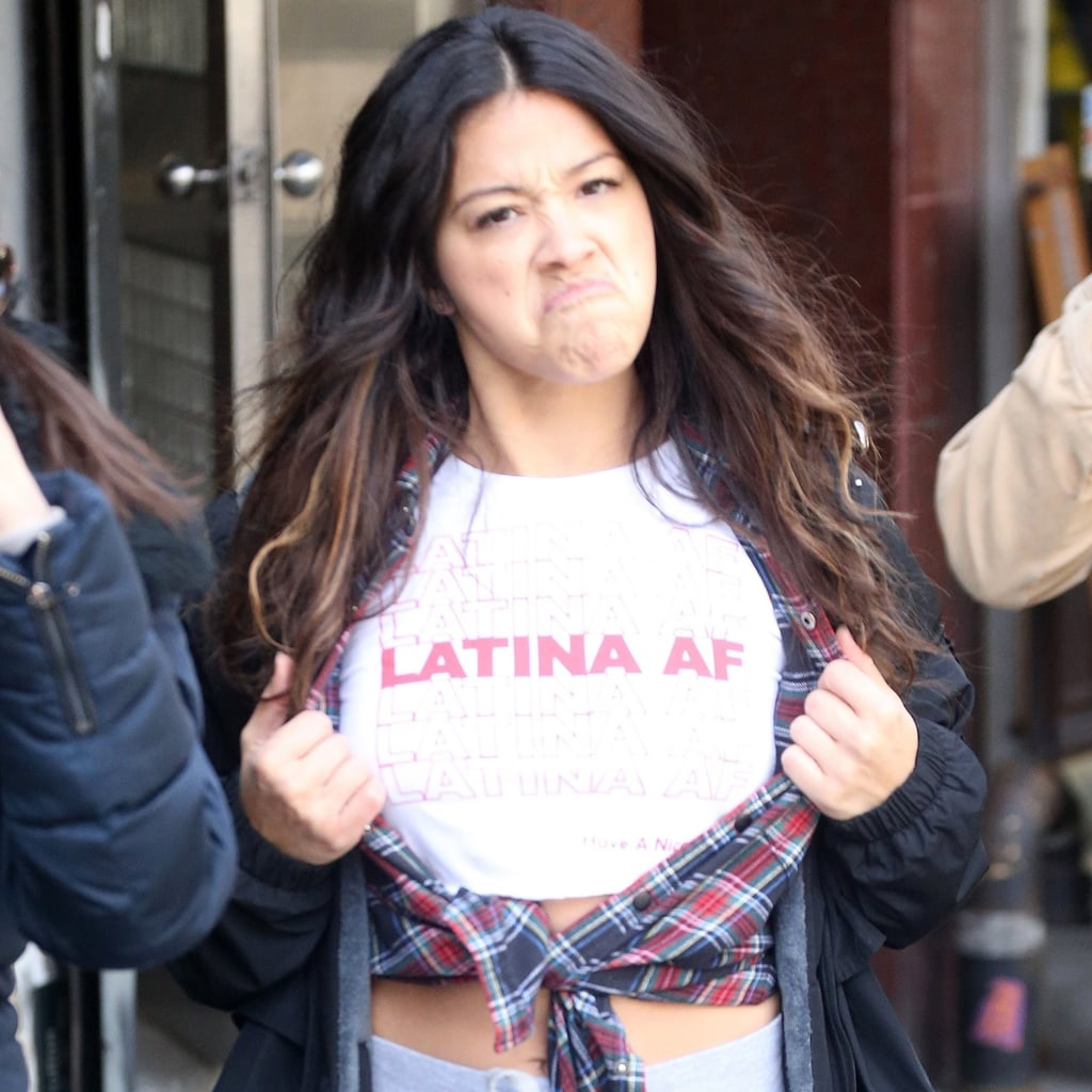 "Gina Rodriguez Wearing ""Latina AF"" Shirt in NYC April 2018"