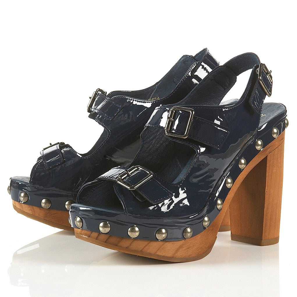 These patent sandals (£68) are available in a range of colours.