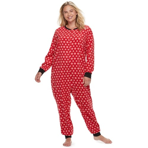 plus size jammies for your families snowflakes microfleece one piece