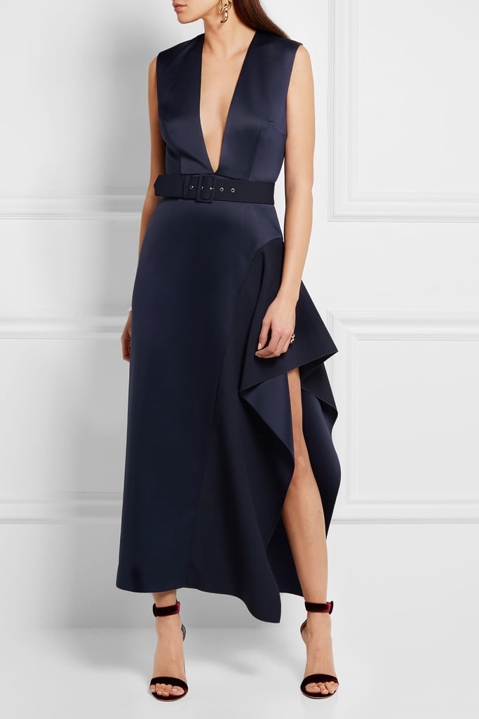 Solace London Simpson Asymmetric Belted Charmeuse Midi Dress ($640)