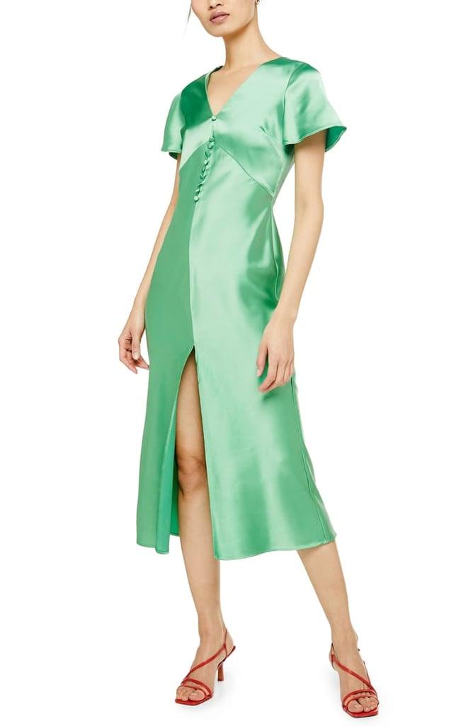 Topshop Angel Sleeve Bias Cut Satin Midi Dress