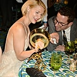 Clarie Danes looked at her award at the 2013 HBO Emmys after party.