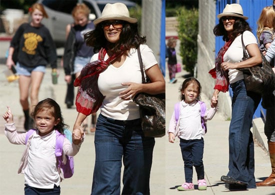 Pictures of Salma Hayek and Valentina Pinault Arriving at School in LA