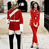 Alexa Chung gave the guard a run for his money, red-jacket wise. Source: Twitter user Alexa_Chung