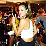 Victoria's Secret model Alessandra Ambrosio looked ready to take on her SoulCycle class in New York.