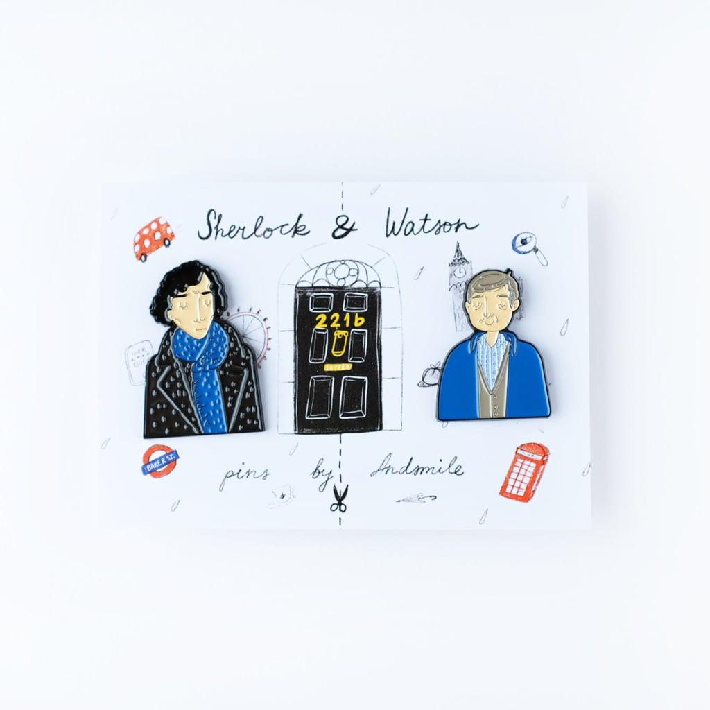 Sherlock and Watson Pins