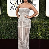 Tracee Ellis Ross in a strapless embellished Zuhair Murad dress with pumps and wore rings by a variety of designers in 2017.