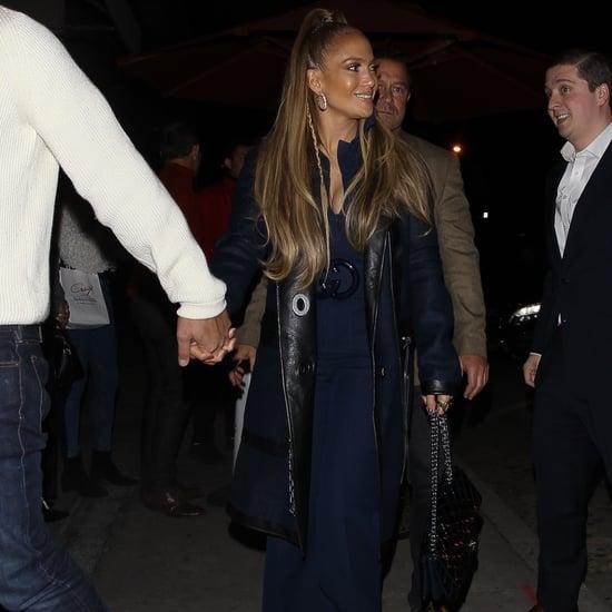 Jennifer Lopez's Blue Belted Gucci Jumpsuit