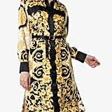 Versace Button-Down Baroque Print Belted Silk Midi Dress