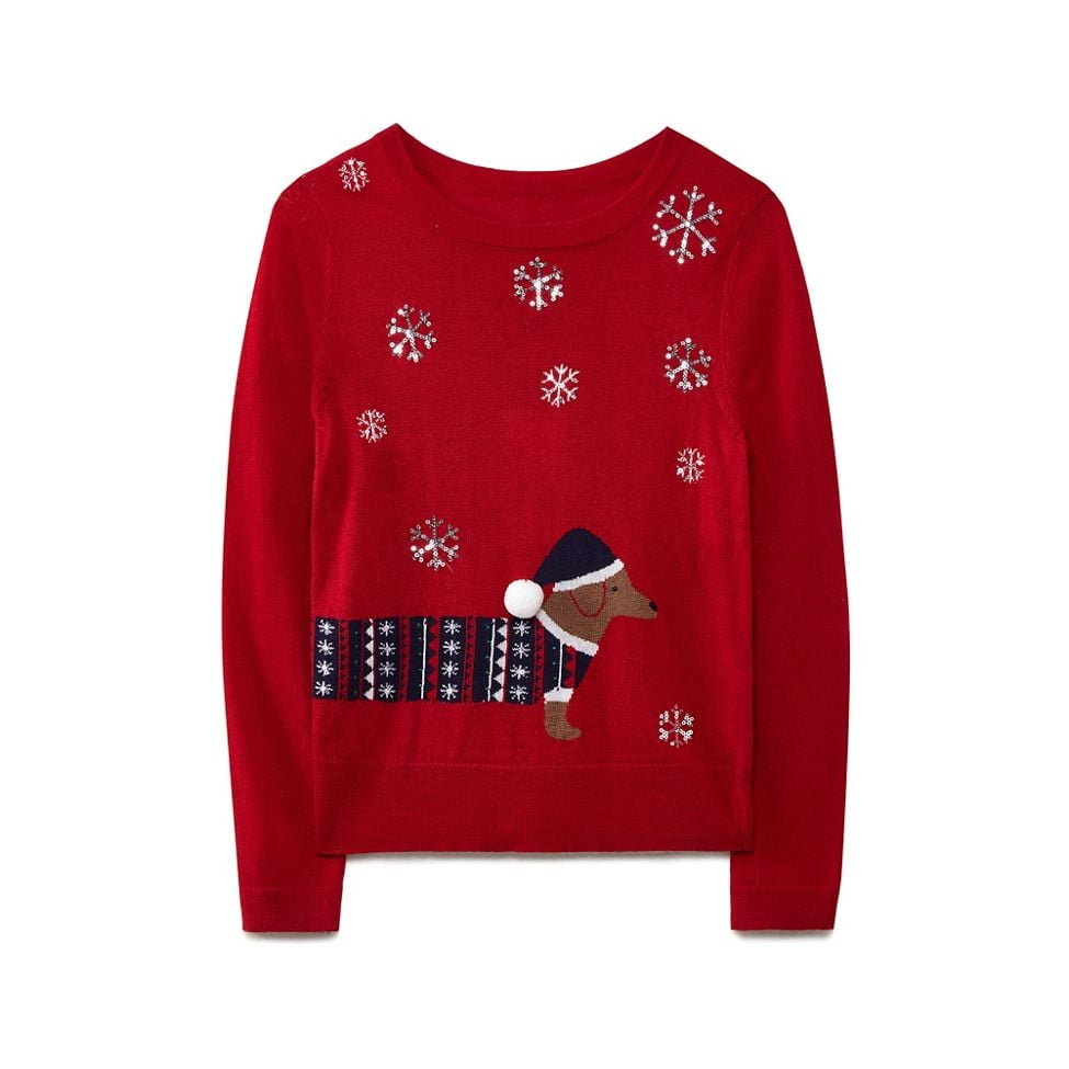 Yumi Red Sausage Dog Christmas Jumper