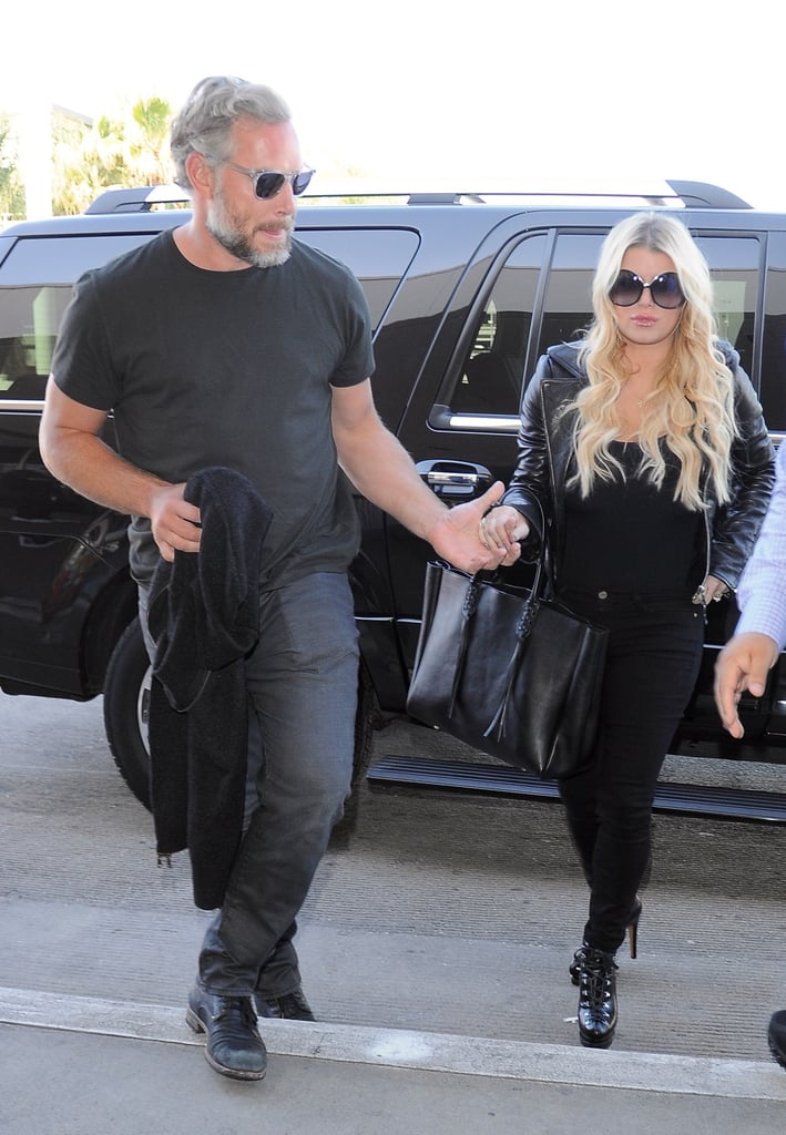 Jessica Simpson and Eric Johnson Hold Hands While Catching a Flight in LA
