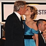 Harrison Ford kissed Calista Flockhart at the 2008 premiere of Indiana Jones and the Kingdom of the Crystal Skull.
