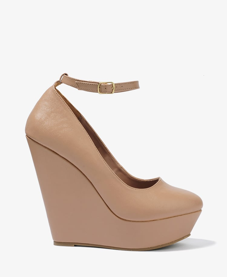 These nude wedges can easily be worn with textured tights for a cool Fall look. Forever 21 Ankle Strap Wedges ($33)