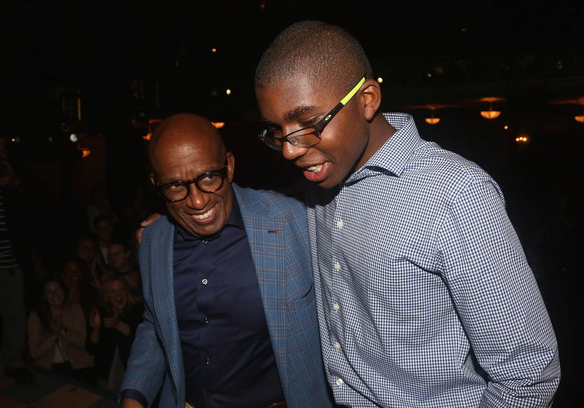 NEW YORK, NY - OCTOBER 05: Al Roker and son Nicholas Roker backstage after Roker made his Broadway debut in the hit musical