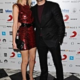 Rosie Huntington-Whiteley and Jason Statham cuddled at a Brit Awards afterparty in London.