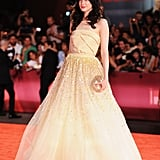 Andrea Riseborough stunned in a voluminous yellow gown.