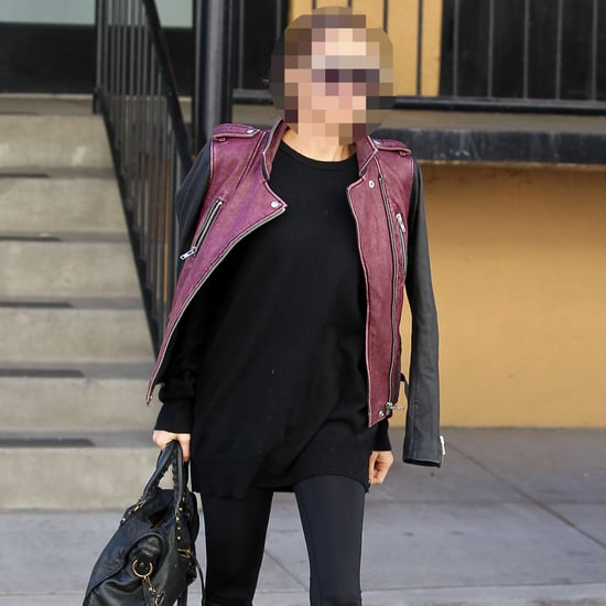 Celeb Wearing Leather Jacket to Studio City Gym | Picture