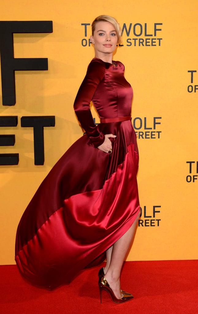 Wearing an Oscar de la Renta asymmetrical gown at The Wolf of Wall Street UK premiere.