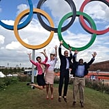 Today anchors Matt Lauer, Al Roker, Natalie Morales, and Savannah Guthrie jumped for joy under the Olympic rings. Source: Instagram user todayshow