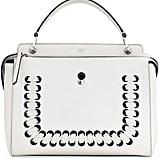Fendi DOTCOM Medium Whipstitched Leather Satchel Bag, White ($2,900)