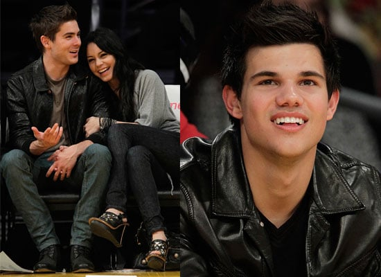 Photos of Taylor Lautner, Zac Efron and Vanessa Hudgens at the LA Lakers Game
