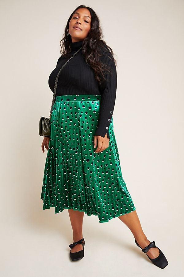 Maeve Carly Pleated Velvet Midi Skirt