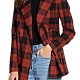 Chelsea28 Double Breasted Plaid Blazer