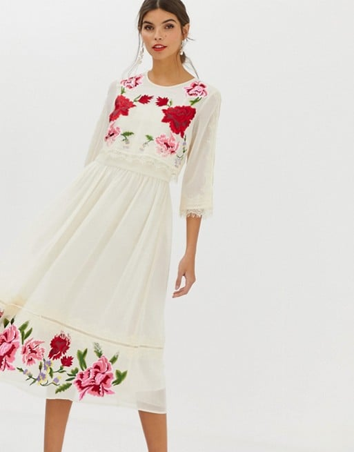 Double Layer Midi Embroidered Dress